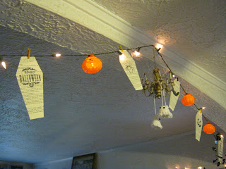 halloween coffin garland recycled book page stamped